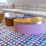 Cladded Lacquered Brass Coffee Table Top, Base & Inlays