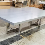 Custom Polished Stainless Steel Table Bases w/ Grey Lacquered Oak Tops