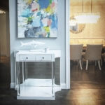 Custom White Gloss Lacquer Entry Console w/ Mirror Back & Lucite Tubular Legs