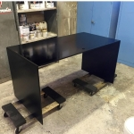 Custom Blackened Stainless Steel Waterfall Desk w/ Grommet Hole