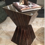 Custom Kinon Side Table with Oil Rubbed Bronze Top Plate