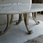 Custom Bronze Casted Dining Room Table Legs & Marble Top