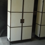 Custom Antique Bronze & Parchment Cabinets
