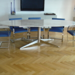 Custom Polished Stainless Steel Conference Table w/ Stem Base & Marble Top