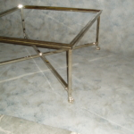 Custom Coffee Table w/ Polished Nickel Frame & Casted Feet