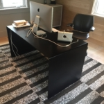Custom Blackened Stainless Steel Waterfall Desk w/ Center Grommet Hole
