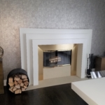 Custom Directional Lacquer Brass Fireplace Surround w/ Visible Seams
